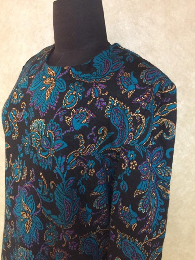 Vintage 1980s Paisley Floral Print Knit Sweater Shift Dress M L