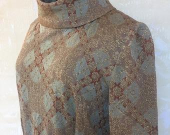 Vintage 1970s Luxe Boho Blue Gold Metallic Tricosa Pleats Skirt Maxi Dress  M