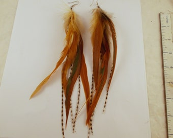 warm natural brown feather earrings long with grizzly boho Hypoallergenic sterling  silver gold filled