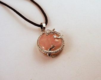 Rose Quartz dragon button Necklace: Natural Crystal Pendant, Stone Jewelry