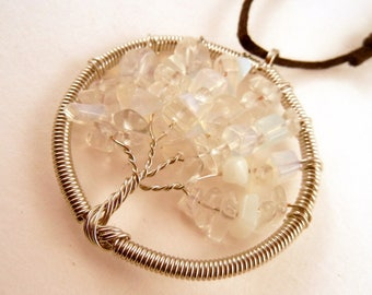 Tree of Life Necklace Sea Opal Natural Crystal Pendant, Stone Jewelry