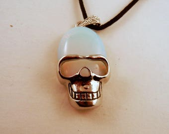 Sea opal Skull Necklace: Natural Crystal Pendant, Stone Jewelry