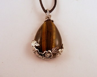 tigers eye Rose tear drop Necklace: Natural Crystal Pendant, Stone Jewelry