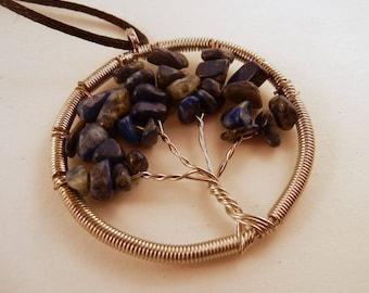 Tree of Life Necklace Lapis Lazuli Natural Crystal Pendant, Stone Jewelry