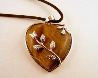 tigers eye Rose Necklace: Natural Crystal Pendant, Stone Jewelry