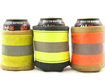 Beverage Jacket - Recycled Firefighter Gift, Fireman Gift, Fireman Can Cooler, Fireman gift