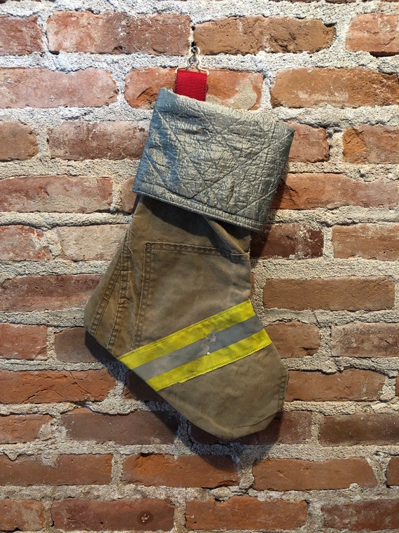 Firefighter Christmas Stocking.Recycled Firefighter Christmas Stocking Firefighter Gift Fire Gift Handmade Gift Fireman Retirement Firefighter Retirement Vintage