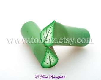 Willow Green Leaf Polymer Clay Cane, Raw Polymer Clay Cane, Nail Art