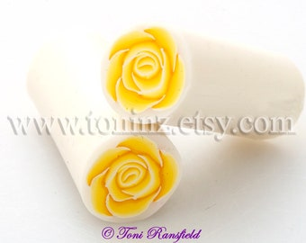 Yellow Rose Polymer Clay Cane, Raw Polymer Clay Cane, Nail Art