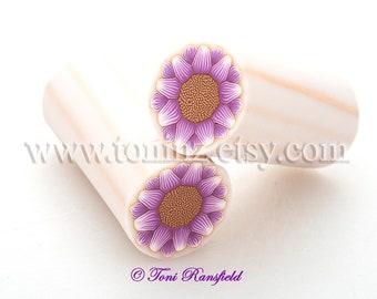 Purple Sunflower Polymer Clay Cane, Nail Art, Raw Polymer Clay Cane