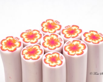 Orange and Yellow Hibiscus Flower Polymer Clay Cane,Raw Polymer Clay Cane,Nail Art