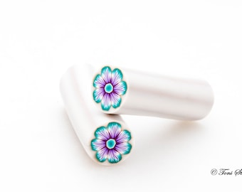 Mermaid Teal and Purple Flower Polymer Clay Cane, Raw, Nail Art