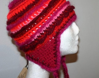 Special offer - OOAK Colorful Ear Flap Hat - Pink and Red Tones - Small