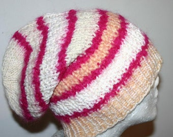New Design - Very Cool  Unisex Hand Knitted  Slouchy  Hat/Beanie S-M