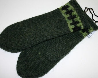 Unisex Felted Icelandic Wool Mittens - Dark Green with Lime and Black Pattern - Free shipping