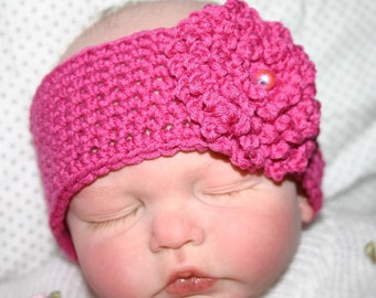 Beautiful Crocheted Pink Headband with matching flower for Newborn up to 3m