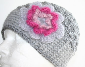 Elegant Crochet hat with flower - Earth friendly hat - beanie from Iceland Free shipping