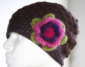 Elegant Crochet hat with flower - Earth friendly hat - beanie from Iceland