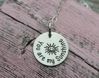 "You are my Sunshine Charm Necklace, Sterling Silver (5/8"")"