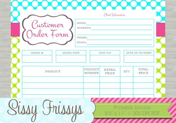 INSTANT DOWNLOAD Printable Business Customer Invoice Etsy