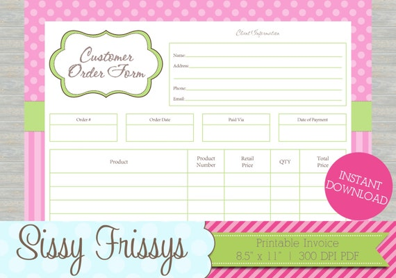 42565cbe2f2c4 INSTANT DOWNLOAD - Printable Business Customer Invoice - Business Order  Form - Etsy Craft Show Order Form - Work At Home and Online Invoice