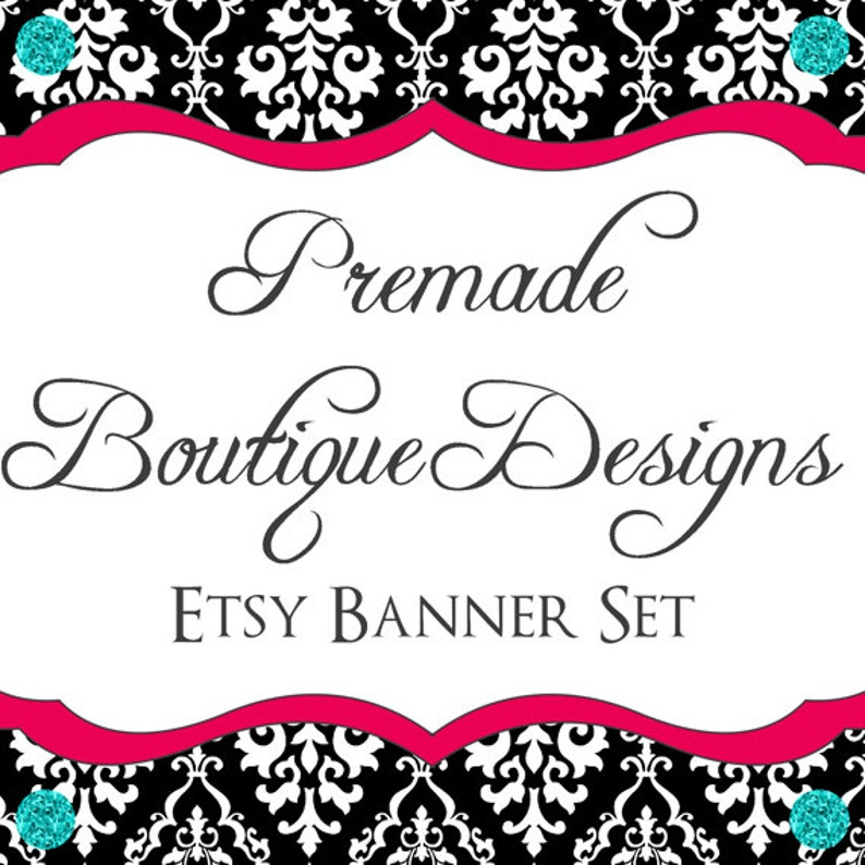 84073764 Etsy Shop Banner Set Premade Etsy Kit Bling Damask Premade Etsy Banner Set Etsy Banner Set