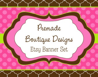 Pink and Brown Premade Etsy Banner Set - Etsy Shop Banner Set - Etsy Banner Set - Premade Etsy Kit - 97673760