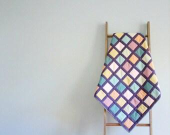 Modern Baby Girl or Boy Quilt, Baby Blanket, Crib Quilt, Stroller Blanket - Modern Windowpane Design