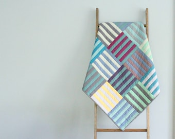 Custom Made-to-Order Baby Quilt - Woven Stripes Design