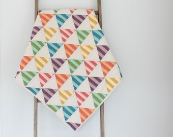 Custom Made-to-Order Striped Triangles Baby Quilt - Baby Boy Quilt or Baby Girl Quilt, Handmade Quilt, Modern Quilt