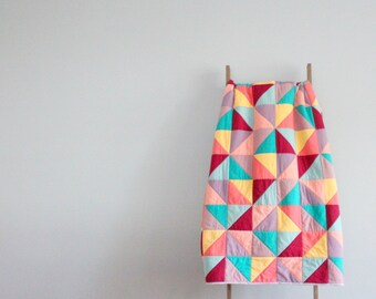 Custom Made-to-Order Bed or Throw Quilt - Half-Triangles Design, Colors of Your Choosing