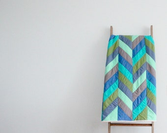 Custom Made-to-Order Bed or Throw Quilt - Herringbone Design, Colors of Your Choosing
