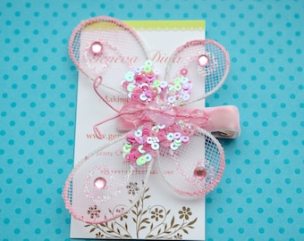 Glitz and Glam....Light Pink Sequined Butterfly Clip