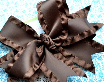 Chocolate Brown Double Ruffle XL Diva Bow