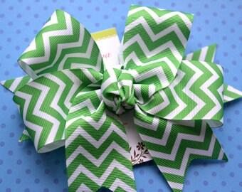 Emerald and White Chevron XL Diva Bow