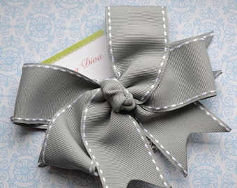 All Stitched Up...Gray XL Diva Bow