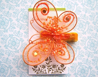 Glitz and Glam....Orange Sequined Butterfly Hairclip