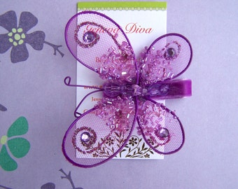 Glitz and Glam....Purple Sequined Butterfly Hairclip