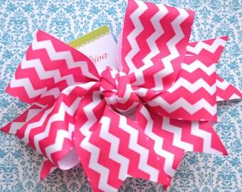 Bright Pink and White Chevron XL Diva Bow