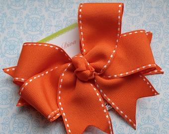 All Stitched Up...Orange XL Diva Bow