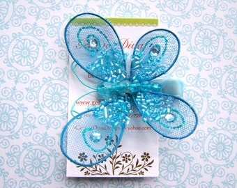 Glitz and Glam......Blue Sequined Butterfly Hairclip