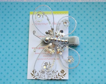 Glitz and Glam....Silver Sequined Butterfly Hairclip