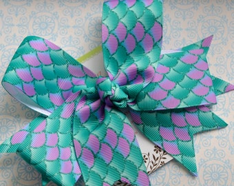 Purple and Turquoise Mermaid Scales XL Diva Bow