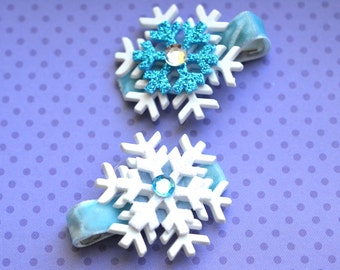 Set of 2 Frozen Inspired Snowflake Hairclips