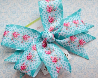 Turquoise Floral Lace XL Diva Bow