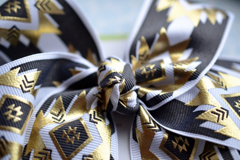 Gold Black and White Aztec XL Diva Bow