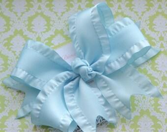 Light Blue Double Ruffle XL Diva Bow