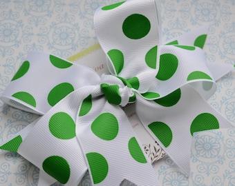 Kelly Green Dots XL Diva Bow