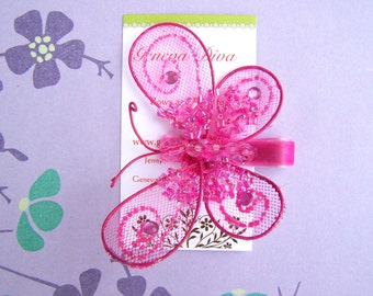 Glitz and Glam....Hot Pink Sequined Butterfly Clip