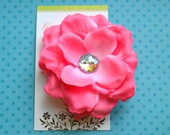 Medium Pink Rose Flower Hairclip